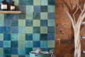 Squares by Fifth Element Handmade Tiles Blend of Oxide Mystery Teal, Oxide Soft Emerald, Tempest Blue and Shallow Waters  Available to order in other shapes and sizes
