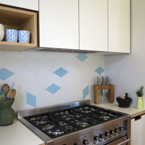 Thornbury KitchenSplashback - Tex White + Blue by Mutina + Raw Edges  Kitchen by Cantilever Kitchens