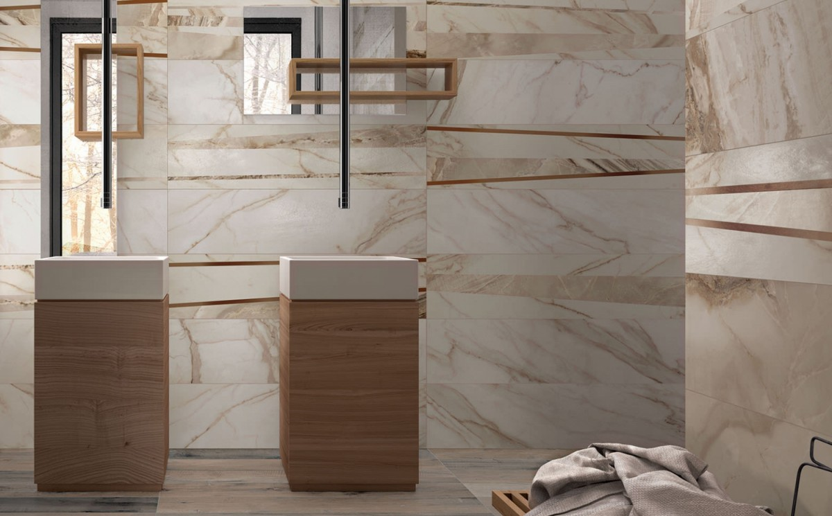 Supreme Marble by Flaviker Floor - Onyx Prestige Wall - Golden Calacatta Wall Decorational - Fusion Hot, Decoro Line Fusion Hot Mix
