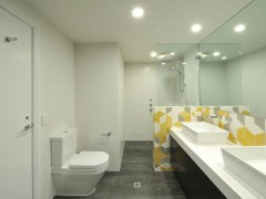 Soutbank Bathroom Feature Wall - Tex White, Grey, Yellow Walls + Floors - Statale 9 by Viva Fumo Designer - Eat.Bathe.Live Photographer - May Photography