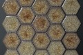 Crackled Glass Hexagon by Fifth Element Handmade Tiles Antique Gold